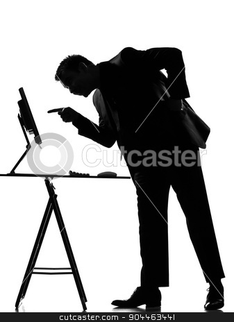 silhouette  man  computing stock photo, silhouette  business man computing expressing behavior full length on studio isolated white background by Ishadow