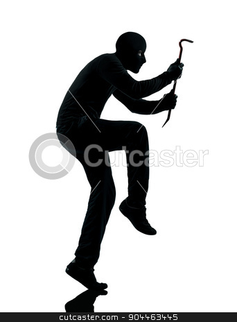 thief criminal walking quiet silhouette stock photo, thief criminal walking quiet in silhouette studio isolated on white background by Ishadow