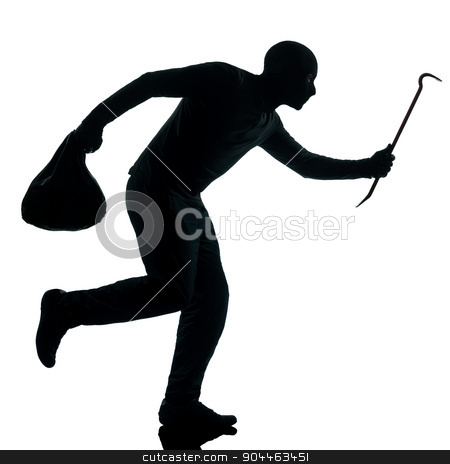 man thief criminal running silhouette stock photo, thief criminal running in silhouette studio isolated on white background in silhouette studio isolated on white background by Ishadow