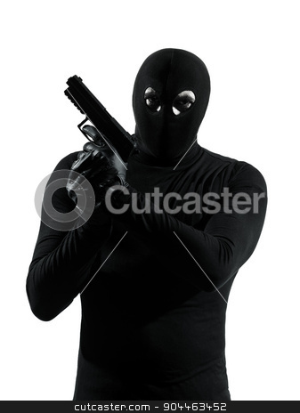 thief criminal terrorist holding gun portrait silhouette stock photo, thief criminal terrorist holding gun portrait in silhouette studio isolated on white background by Ishadow