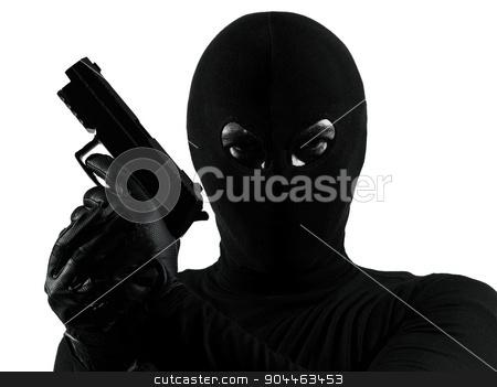 thief criminal terrorist holding gun portrait silhouette stock photo, thief criminal terrorist holding gun portrait in silhouette studio isolated on white background by Ishadow