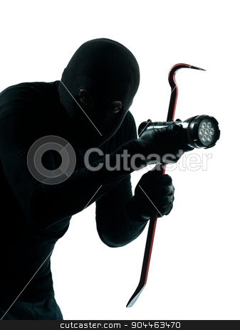 thief criminal burglar portrait masked silhouette stock photo, thief criminal burglar portrait masked in silhouette studio isolated on white background by Ishadow