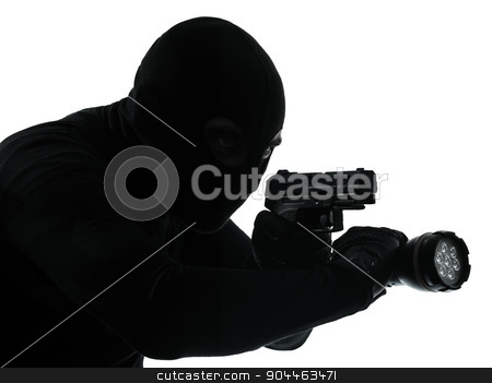 thief criminal terrorist silhouette stock photo, thief criminal terrorist in silhouette studio isolated on white background by Ishadow