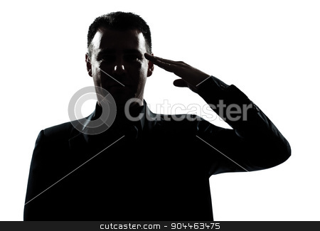 silhouette man portrait army salute stock photo, one  man army salute gesture portrait silhouette in studio isolated white background by Ishadow