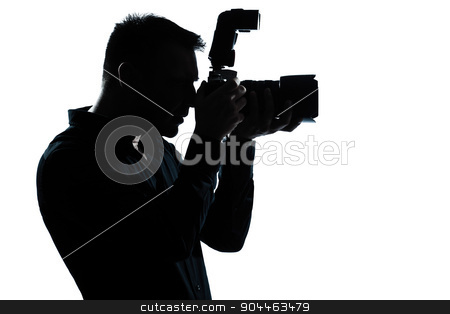 silhouette man portrait photographer stock photo, one  man portrait silhouette photographer in studio isolated on white background by Ishadow