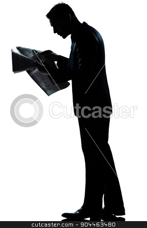 silhouette man walking reading newspaper full length stock photo, one  man walking reading newspaper full length silhouette in studio isolated white background by Ishadow