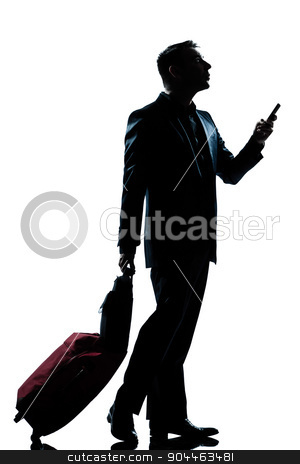 silhouette man walking on the phone full length stock photo, one  business traveler man walking on the phone with suitcase full length silhouette in studio isolated white background by Ishadow