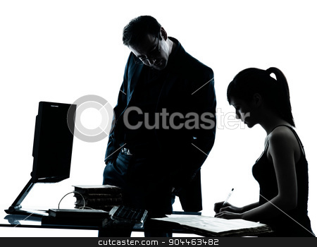man father teacher student girl teenager homework silhouette stock photo, one man father professor and student teenager girl helping for homework in silhouette indoors isolated on white background by Ishadow