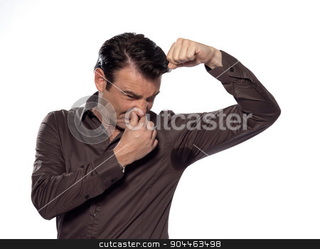Man Portrait sweat perspiring stock photo, man perspiring unpleasant smell isolated studio on white background by Ishadow
