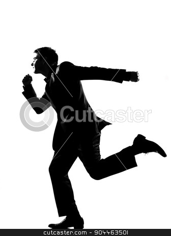 silhouette business  man  running profile stock photo, silhouette  business man running profile full length on studio isolated white background by Ishadow
