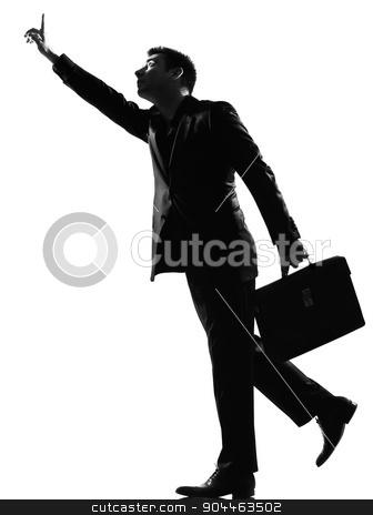silhouette  man   running hailing stock photo, silhouette  business man running hailing full length on studio isolated white background by Ishadow