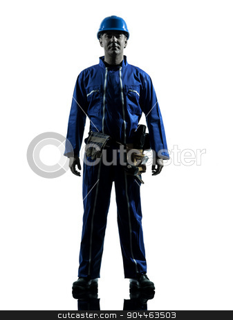 repair man worker standing serious silhouette stock photo, one  repairman worker standing serious silhouette in studio on white background by Ishadow