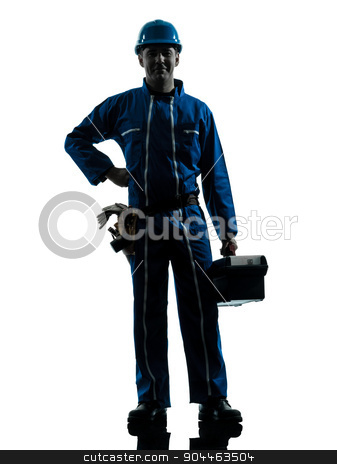 repair man worker standing smiling  silhouette stock photo, one  repairman worker standing smiling silhouette in studio on white background by Ishadow