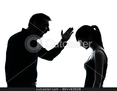 father daughter dispute conflict  silhouette stock photo, one man and teenager girl dispute conflict in silhouette indoors isolated on white background by Ishadow