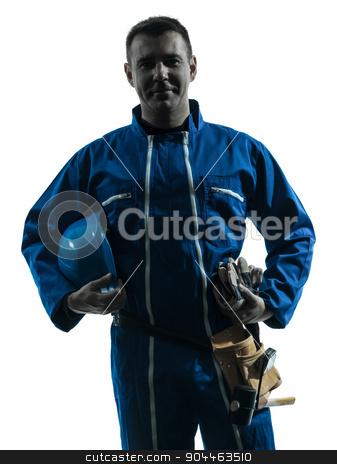 repair man worker silhouette stock photo, one  repairman worker silhouette in studio on white background by Ishadow