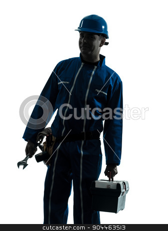 repair man worker silhouette stock photo, one  repairman worker silhouette in studio on white background by Ishadow
