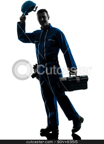 repair man worker saluting silhouette stock photo, one  repairman worker saluting silhouette in studio on white background by Ishadow