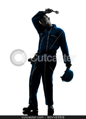repair man worker tired fatigue silhouette stock photo, one  repairman worker tired fatigue silhouette in studio on white background by Ishadow