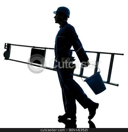 repair man worker ladder walking silhouette stock photo, one  repairman worker ladder walking silhouette in studio on white background by Ishadow