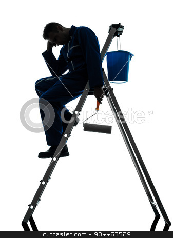 man house painter worker silhouette  stock photo, one  man house painter worker silhouette in studio on white background by Ishadow