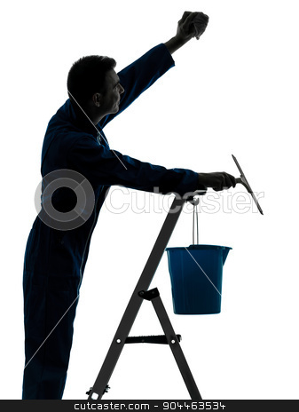 man house worker janitor cleaning window cleaner silhouette stock photo, one  man house worker janitor cleaning window cleaner silhouette in studio on white background by Ishadow