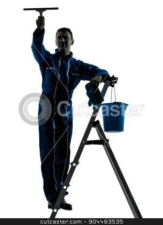 man window cleaner worker silhouette  stock photo, one  man window cleaner worker silhouette in studio on white background by Ishadow