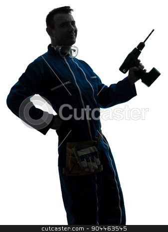 man construction worker holding drill silhouette stock photo, one  man construction worker holding drill silhouette in studio on white background by Ishadow