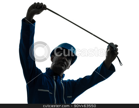 man construction worker holding Tape Measure silhouette stock photo, one  man construction worker Tape Measure silhouette in studio on white background by Ishadow