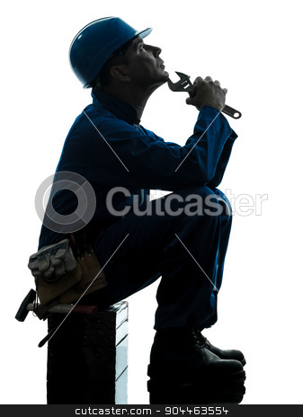 repair man worker sad fatigue failure  silhouette stock photo, one  repairman worker sad fatigue failure silhouette in studio on white background by Ishadow