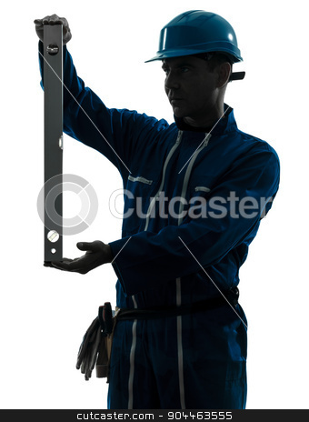 man construction worker holding level silhouette stock photo, one  man construction worker holding level silhouette in studio on white background by Ishadow