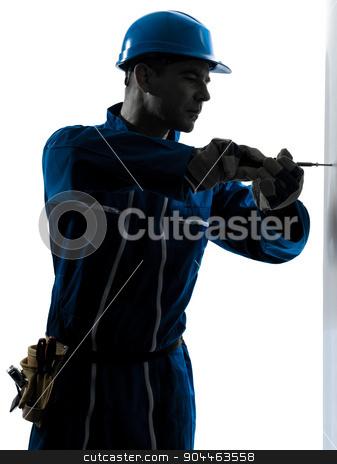 man construction worker screwdriving silhouette stock photo, one  man construction worker screwdriving silhouette in studio on white background by Ishadow