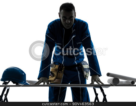 man construction  Architect silhouette stock photo, one  man construction Architect working plans silhouette in studio on white background by Ishadow