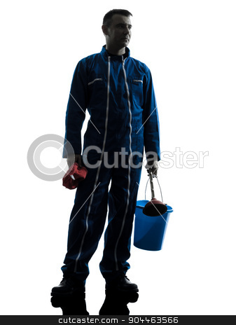 man janitor plumber  silhouette stock photo, one  janitor cleaner cleaning silhouette in studio on white background by Ishadow