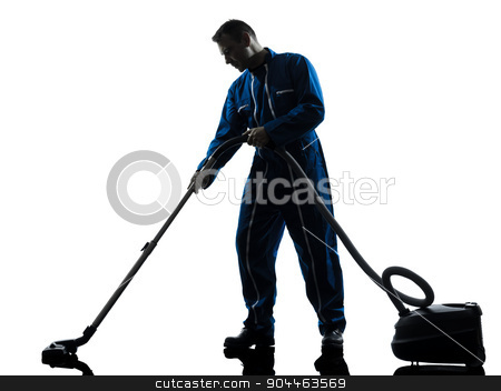 man janitor vaccum cleaner cleaning silhouette stock photo, one  janitor vaccum cleaner cleaning silhouette in studio on white background by Ishadow