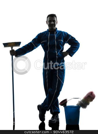 man janitor cleaner cleaning silhouette stock photo, one  janitor cleaner cleaning silhouette in studio on white background by Ishadow