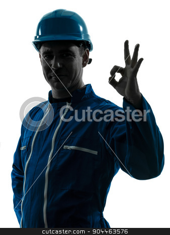 man construction worker okay gesture silhouette portrait stock photo, one  man construction worker smiling silhouette portrait okay gesture in studio on white background by Ishadow