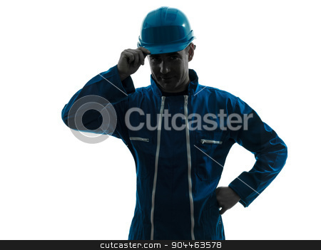 man construction worker saluting silhouette portrait stock photo, one  man construction worker saluting smiling silhouette portrait in studio on white background by Ishadow