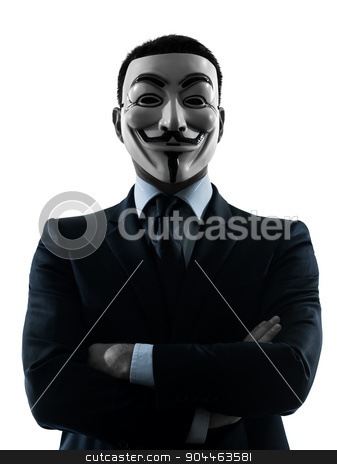 man masked anonymous group silhouette portrait stock photo, PARIS– OCTOBER 30 : one man dressed and masked as a member of Anonymous underground group on October 30, 2012 in Paris ,France by Ishadow