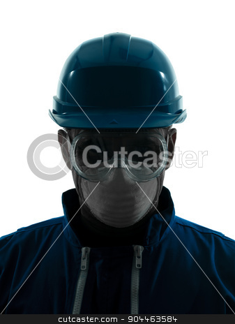 man construction protective workwear silhouette portrait stock photo, one  man construction protective workwear silhouette portrait in studio on white background by Ishadow