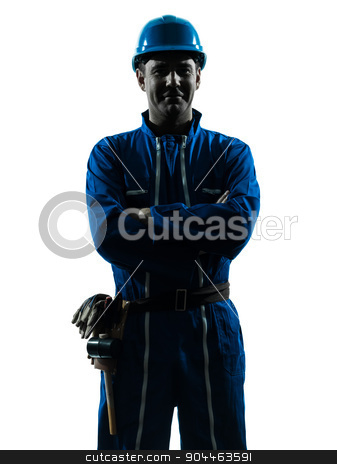 man construction worker smiling friendly silhouette portrait stock photo, one  man construction worker smiling friendly silhouette portrait in studio on white background by Ishadow