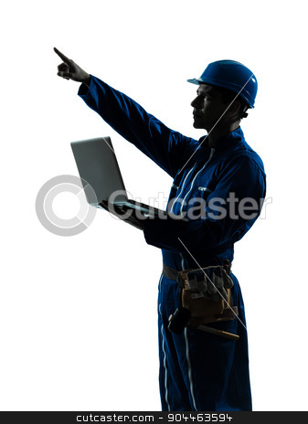 man construction worker computing computer silhouette portrait stock photo, one  man construction worker computing computer silhouette portrait in studio on white background by Ishadow
