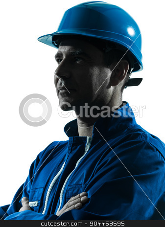 man construction worker profile sideview silhouette portrait stock photo, one  man construction worker smiling silhouette portrait in studio on white background by Ishadow