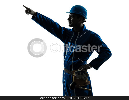 man construction worker pointing showing silhouette portrait stock photo, one  man construction worker pointing showing silhouette portrait in studio on white background by Ishadow