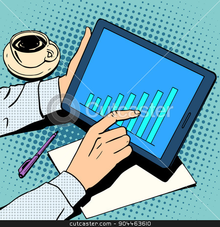business concept businessman schedule growth tablet lunch stock vector clipart, business concept businessman schedule growth tablet lunch retro style pop art by studiostoks