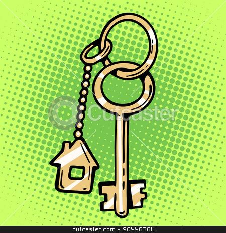 keychain house keys stock vector clipart, keychain house keys housewarming sale property symbol by studiostoks