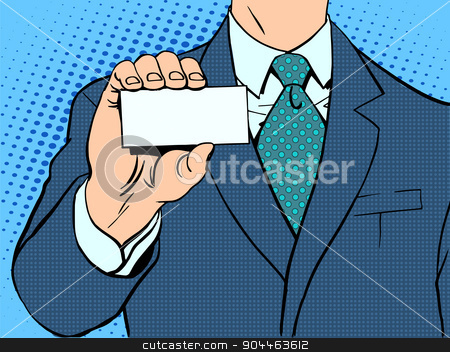 Businessman and business card stock vector clipart, Businessman and business card. Retro style pop art by studiostoks