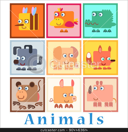 Set animals baby style stock vector clipart, Set animals baby style birds amphibians insects Pets by studiostoks
