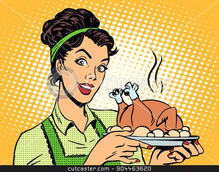 woman hot dish bird potatoes stock vector clipart, A woman with a hot dish bird in the potatoes. Cooking home food retro style pop art by studiostoks