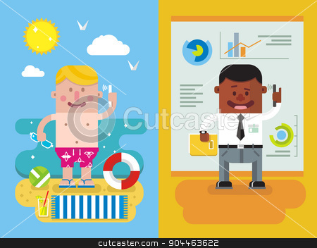 Colleagues calling from vacation to work stock vector clipart, Calling from vacation to work. Man and phone, worker person, communication businessman from vocation. Flat vector illustration by Dmitry Kalabin