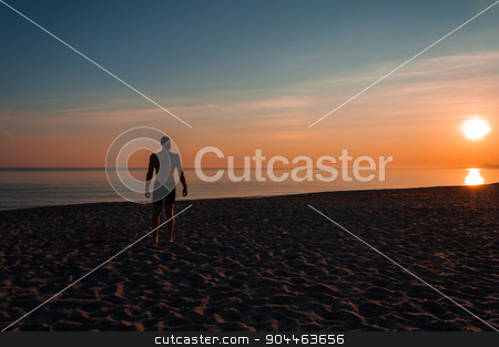 silhouette of man staring at the sea at sunset stock photo, silhouette of man staring at the sea at sunset, fitness by Francesco